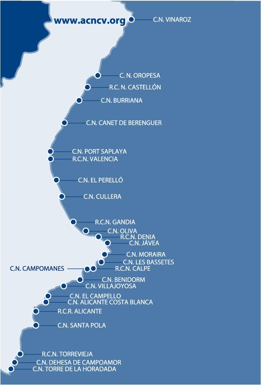 Mapa Costa Comunidad Valenciana.Mapa Y Listado De Clubes Acncv Asociacion De Clubs